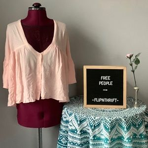 🏷NWT 🌸FREE PEOPLE Sweet Little Button Tee